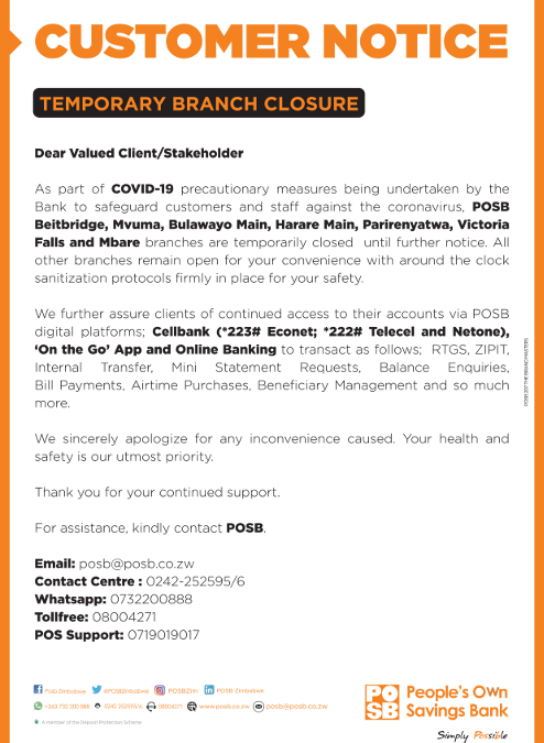 COVID-19 – TEMPORARY BRANCH CLOSURE